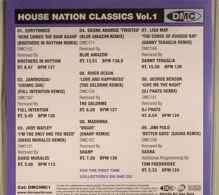 House nation classics vol 1 strictly dj only bei juno for Classic house volume 1