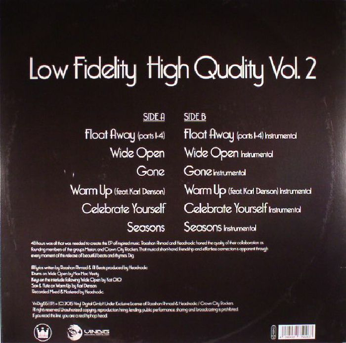 HEADNODIC/RAASHAN AHMAAD - Low Fidelity High Quality Vol 2