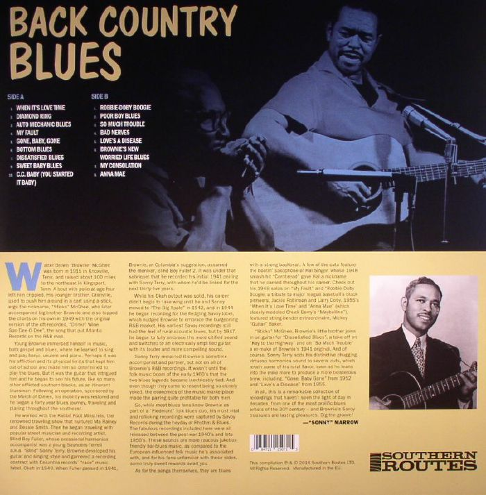 McGHEE, Brownie/SONNY TERRY - Back Country Blues