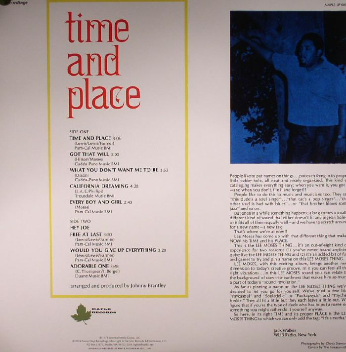 Lee Moses Time Amp Place Vinyl At Juno Records