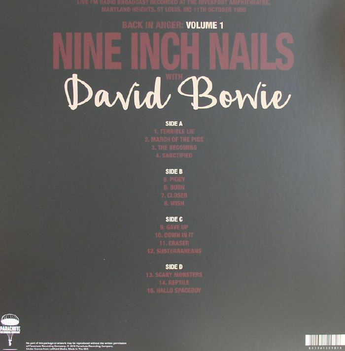 NINE INCH NAILS with DAVID BOWIE Back In Anger: Volume 1 vinyl at ...