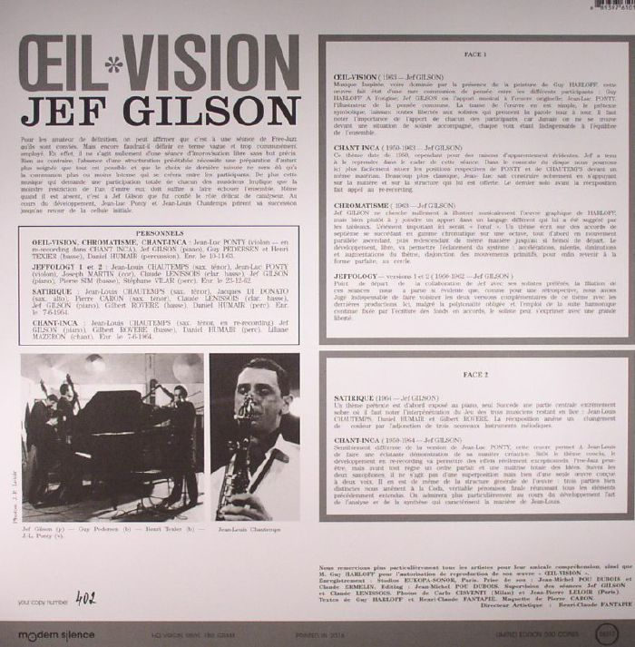 GILSON, Jef/JEAN LUC PONTY/JEAN LOUIS CHAUTEMPS - Oeil Vision