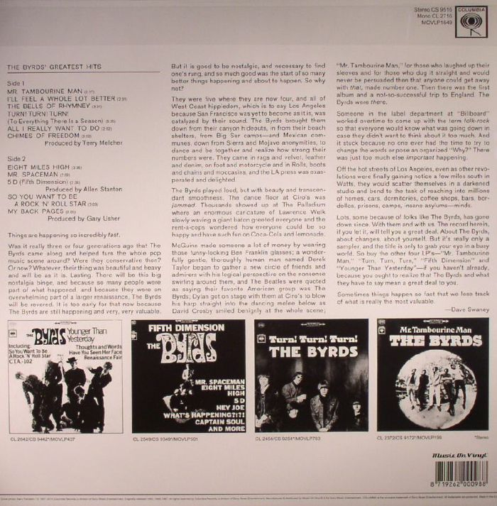 The Byrds Greatest Hits Vinyl At Juno Records