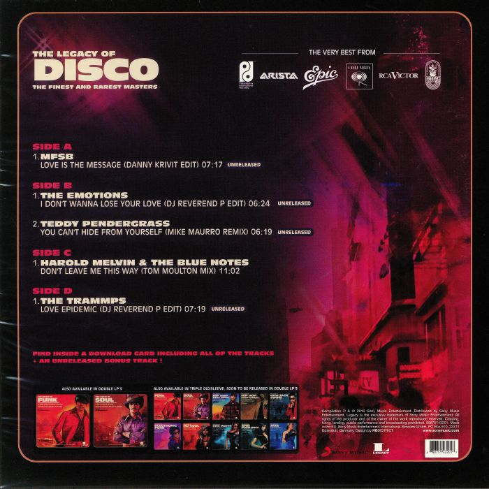 DJ REVEREND P/VARIOUS - The Legacy Of Disco: The Finest & Rarest Masters