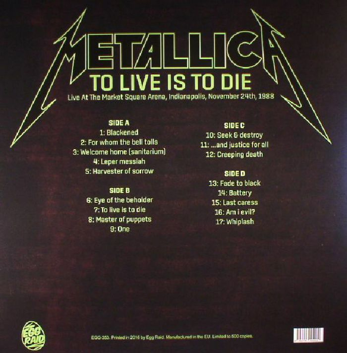 Metallica To Live Is To Die Live At The Market Square