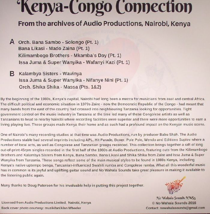 VARIOUS - Kenya Congo Connection: From The Archives Of Audio Productions Nairobi Kenya