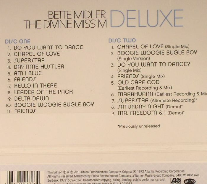 Bette MIDLER The Divine Miss M (Deluxe Edition) Vinyl At