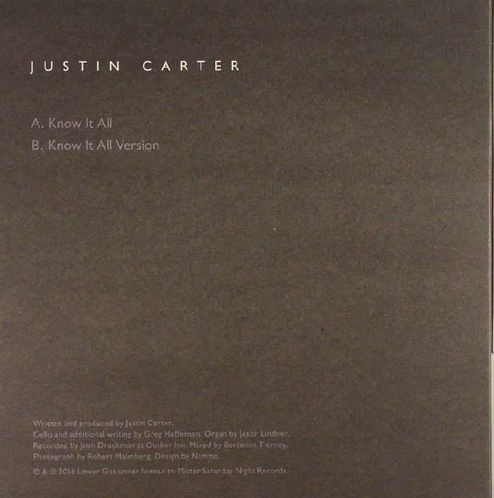 CARTER, Justin - Know It All