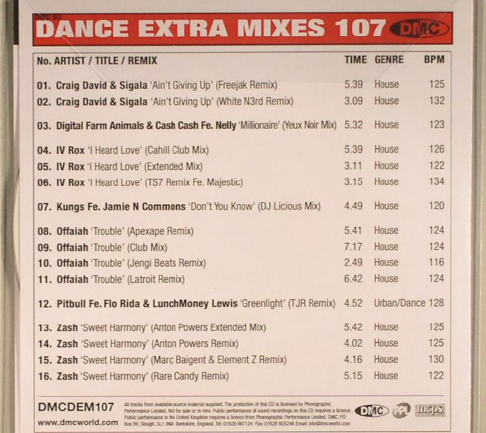 VARIOUS - Dance Extra Mixes Volume 107: Remix Collections For Professional DJs (Strictly DJ Only)
