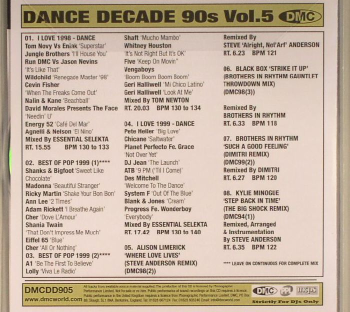 VARIOUS - DMC 90s Dance Decade Volume Five (1998-1999) (Strictly DJ Only)