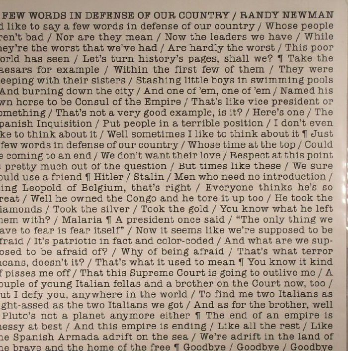 NEWMAN, Randy - A Few Words In Defense Of Our Country