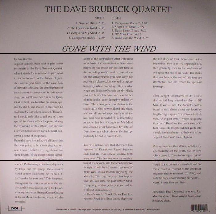 DAVE BRUBECK QUARTET - Gone With The Wind (reissue)