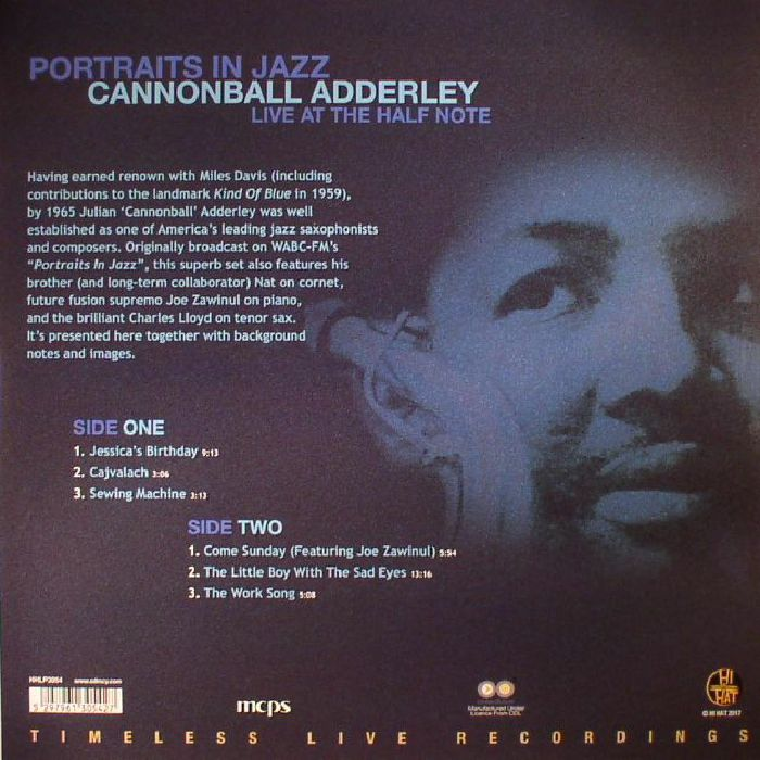 CANNONBALL ADDERLEY - Portraits In Jazz: Live At The Half Note
