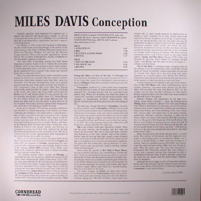 DAVIS, Miles - Conception (reissue)