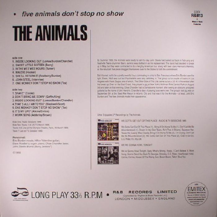 ANIMALS, The - Five Animals Don't Stop No Show (Record Store Day 2017)