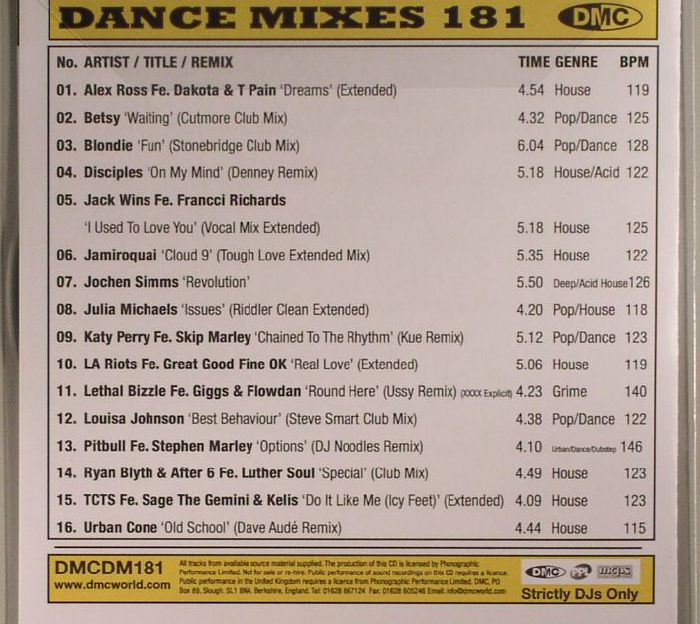 VARIOUS - Dance Mixes 181 (Strictly DJ Only)