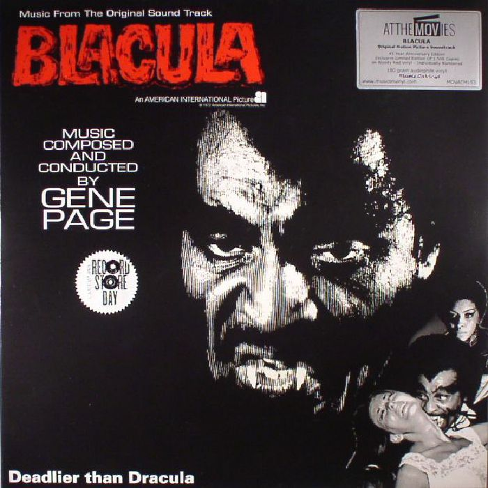 Gene Page Blacula Soundtrack Deluxe Edition Record