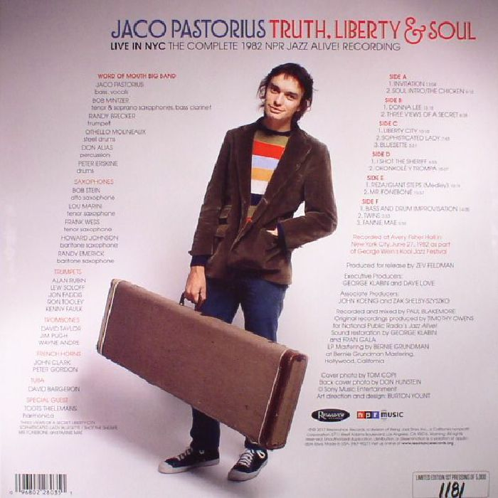 PASTORIUS, Jaco - Truth, Liberty & Soul: Live In NYC: The Complete 1982 NPR Jazz Alive! Recording (Record Store Day 2017)