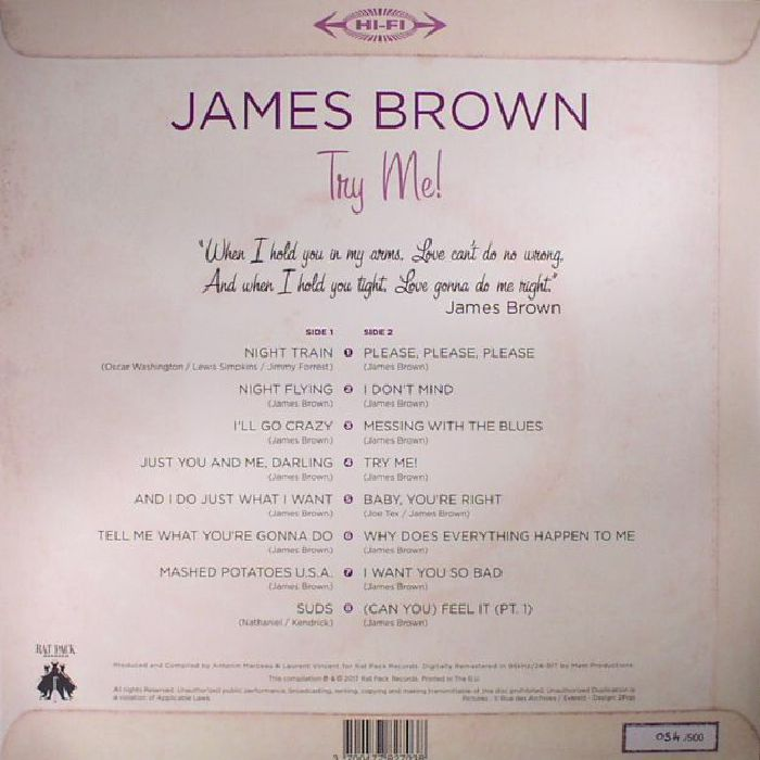 BROWN, James - Try Me (Remastered) (Record Store Day 2017)