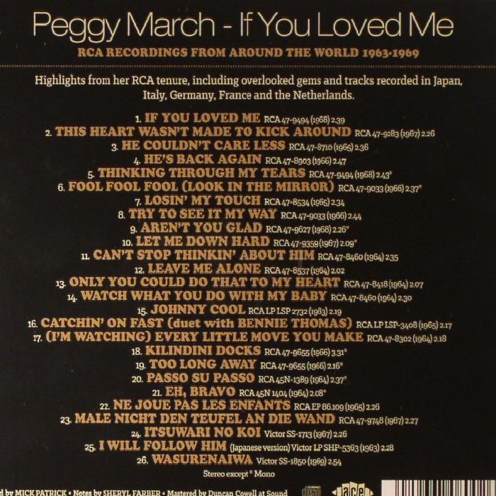 PEGGY MARCH - If You Loved Me: RCA Recordings From Around The World 1963-1969