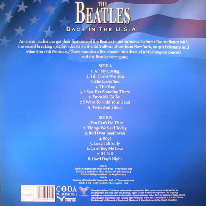 The BEATLES Back In The USA: The Legendary Broadcasts vinyl