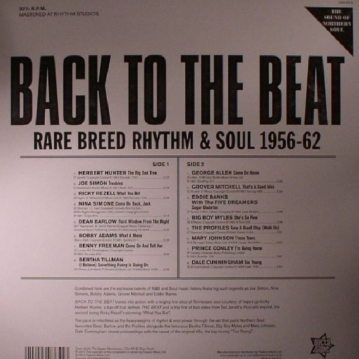 VARIOUS - Back To The Beat: Rare Breed Rhythm & Soul 1956-62