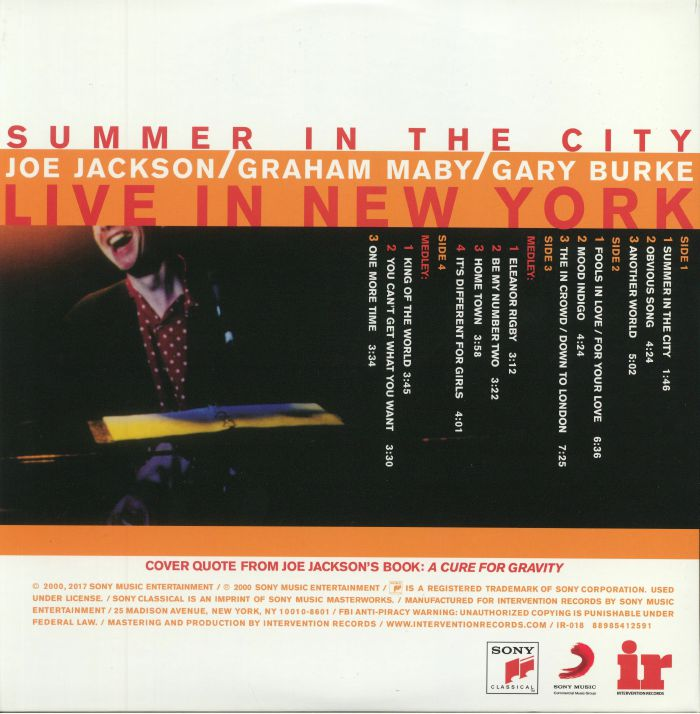 JACKSON, Joe - Summer In The City: Live In New York (reissue)