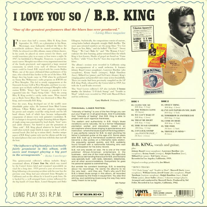 BB KING - I Love You So
