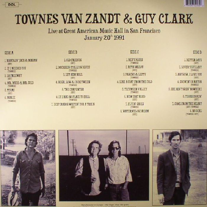 VAN ZANDT, Townes/GUY CLARK - Live At Great American Music Hall In San Francisco January 20th 1991