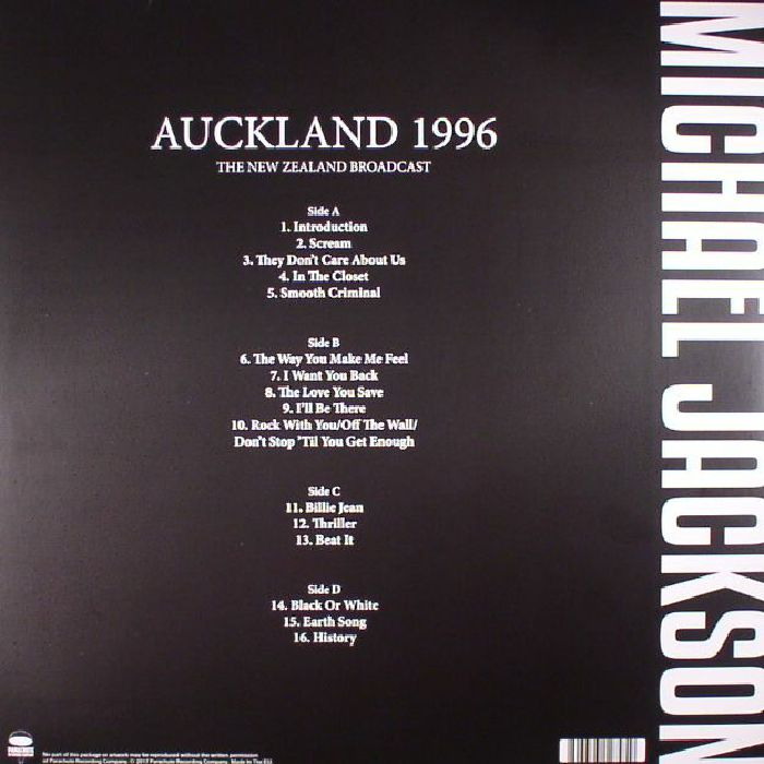 JACKSON, Michael - Auckland 1996: The New Zealand Broadcast
