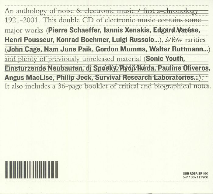 VARIOUS - An Anthology Of Noise & Electronic Music: First A Chronology 1921-2001