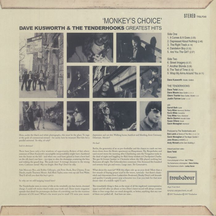 KUSWORTH, Dave & THE TENDERHOOKS - Monkey's Choice: The Greatest Hits