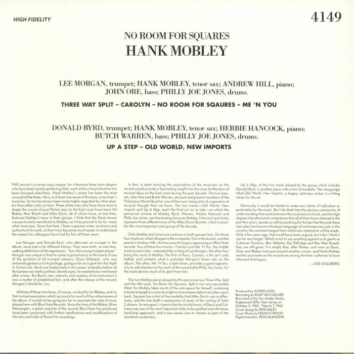 MOBLEY, Hank - No Room For Squares (reissue)