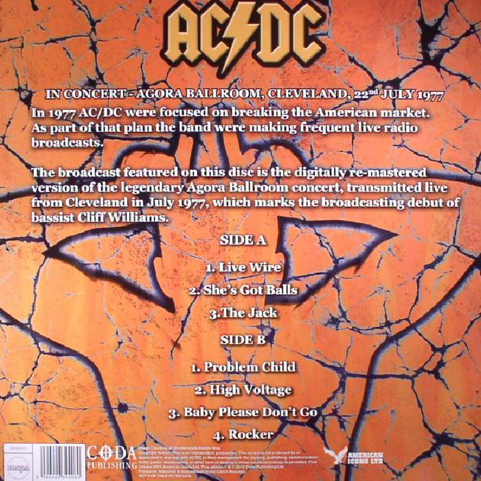 AC/DC - Whole Lotta Rock: Live In Concert Agora Ballroom Cleveland 22nd July 1977