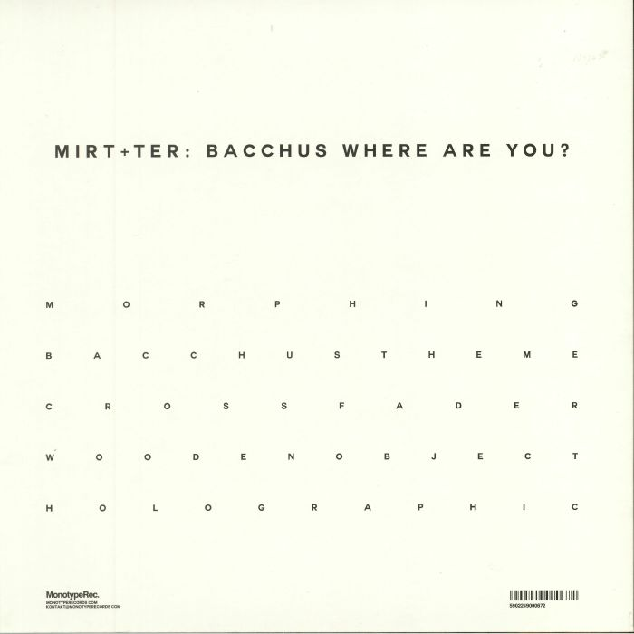 MIRT/TER - Bacchus Where Are You?