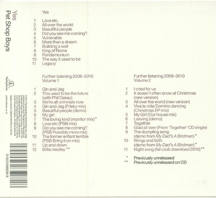 PET SHOP BOYS - Yes: Further Listening 2008-2010 (remastered)