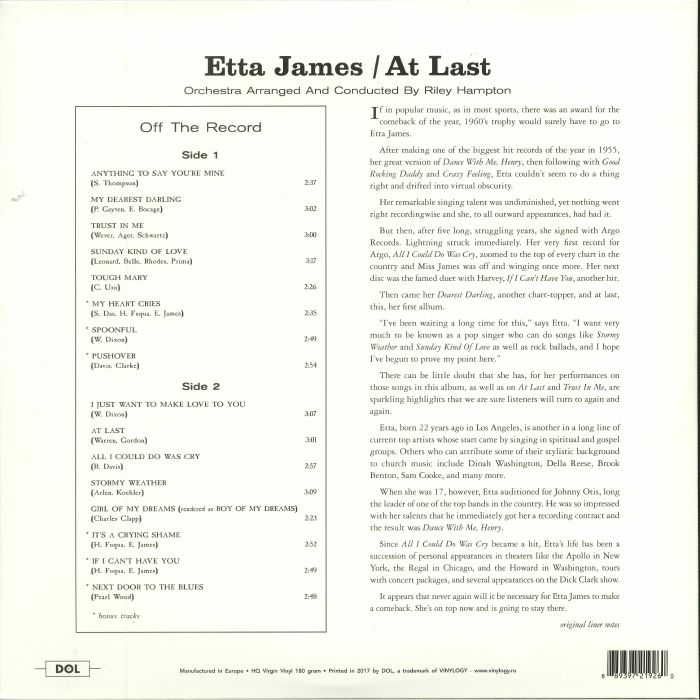 JAMES, Etta - At Last! (reissue)