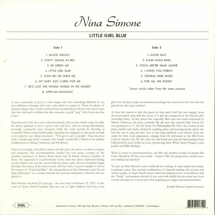 SIMONE, Nina - Little Girl Blue (reissue)