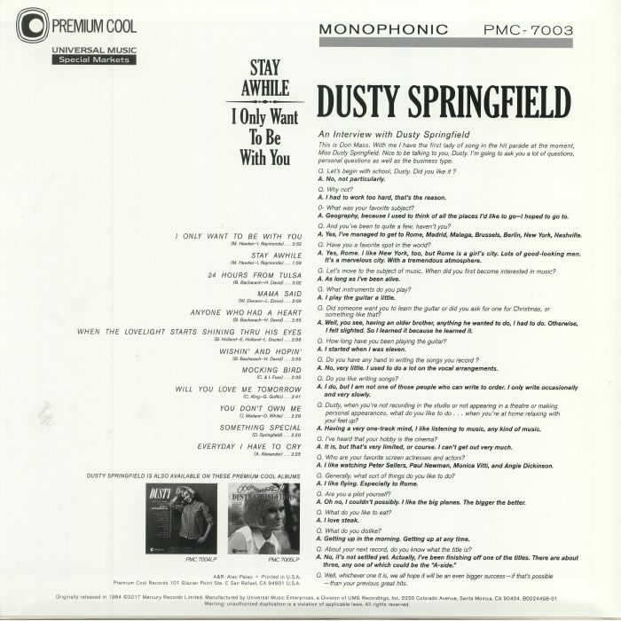 SPRINGFIELD, Dusty - Stay Awhile I Only Want To Be With You