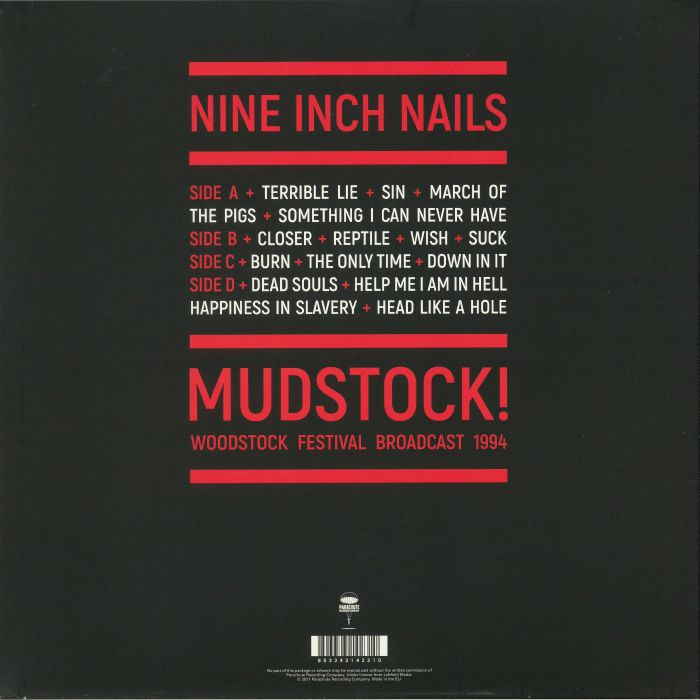 NINE INCH NAILS Mudstock!: Woodstock Festival Broadcast 1994 vinyl ...