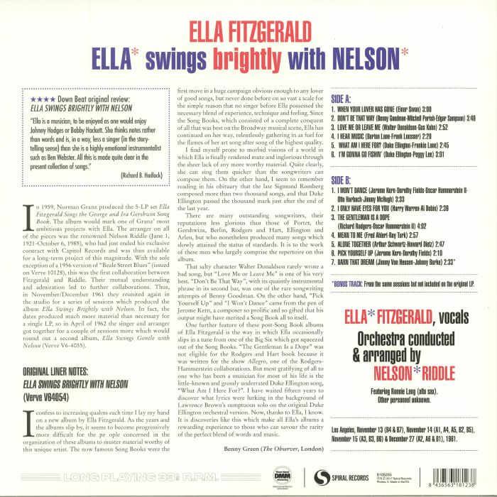 FITZGERALD, Ella - Swings Brightly With Nelson (reissue) (remastered)