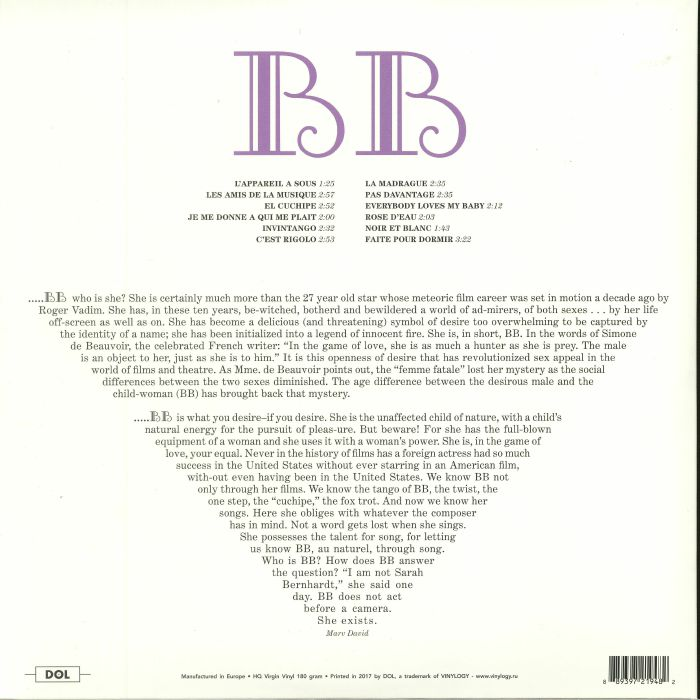 BARDOT, Brigitte - Sings (reissue)