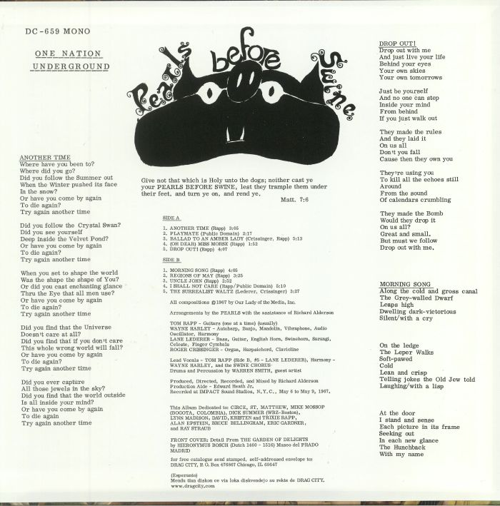 PEARLS BEFORE SWINE - One Nation Underground: 50th Anniversary Mono Restoration & Remastering