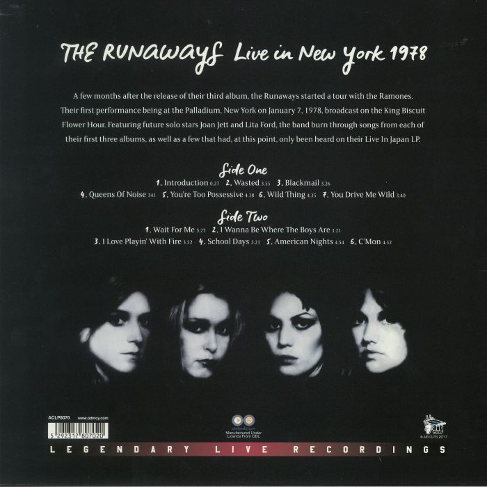 RUNAWAYS, The - Live In New York 1978