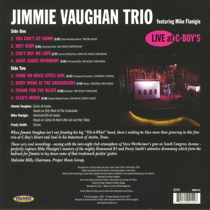 JIMMIE VAUGHAN TRIO feat MIKE FLANIGIN - Live At C Boys
