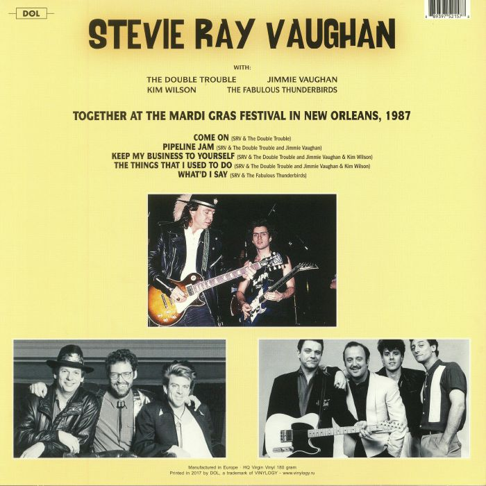 VAUGHAN, Stevie Ray - Live At The Mardi Gras Festival In New Orleans 1987