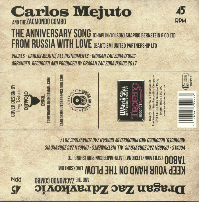 MEJUTO, Carlos/DRAGAN ZAC ZDRAVKOVIC/THE ZACMONDO COMBO - The Anniversary Song EP