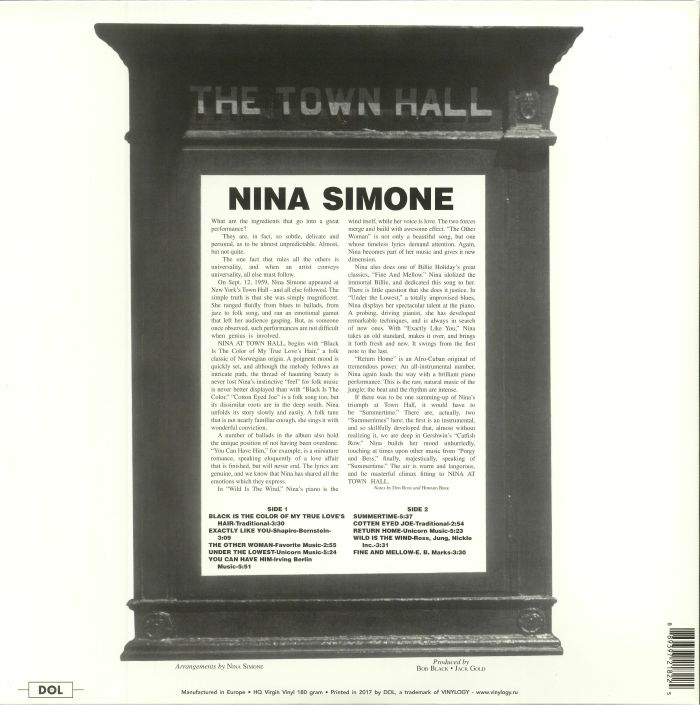 SIMONE, Nina - At Town Hall (reissue)