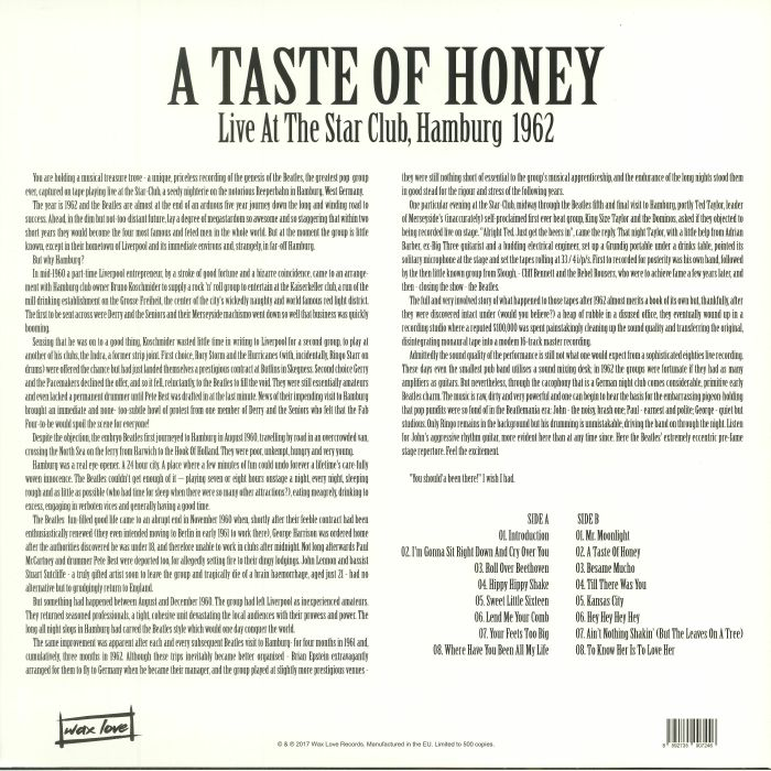 BEATLES, The - A Taste Of Honey: Live At The Star Club Hamburg 1962