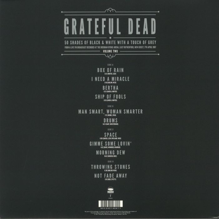 Grateful Dead 50 Shades Of Black White With A Touch Of Grey Volume